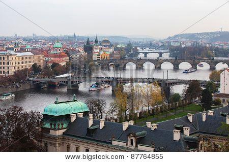 View Of Prague, The Bridges Over The Vltava