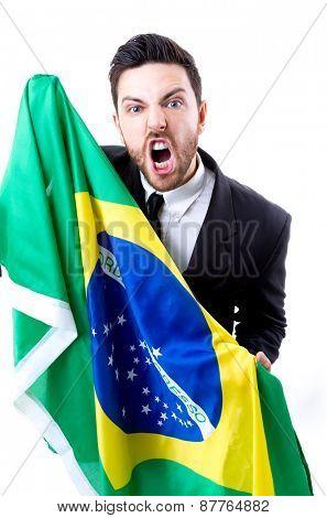 Businessman holding the Brazilian flag on white background