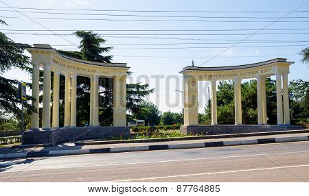 Colonnade At The Entrance To The Nikitsky Botanical Gardens. Crimea, Yalta.