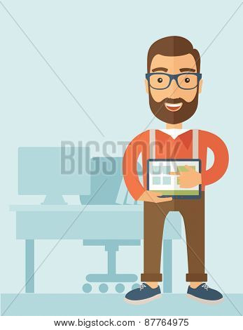 A Caucasian man standing while his hand pointing to the tablet to do his office presentation with the schedule of financial market. Business concept.  A contemporary style with pastel palette, soft