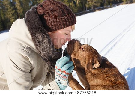 Woman With Shar Pei