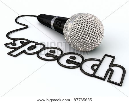Speech word in a microphone cord to illustrate public speaking or giving a presentation to an audience or crowd of people