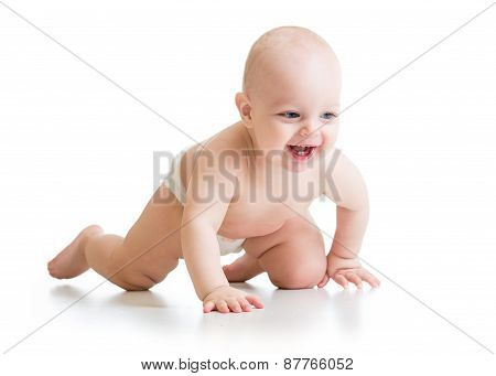 Smiling Crawling Baby Isolated On White Background