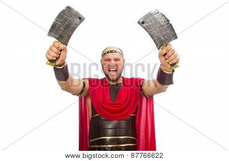 Gladiator with butcher's knife isolated on white
