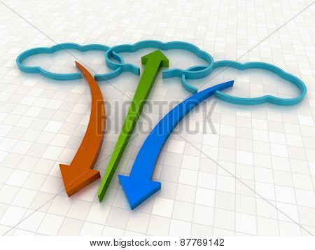 Cloud Computing Concept Background With Colorful Arrows On White Floor
