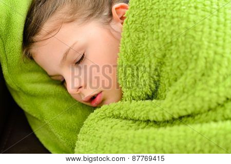 Sick Sleeping Child Girl Under A Blanket
