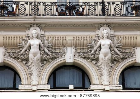 Architectural Detail At Baroque Style Facade Of Building