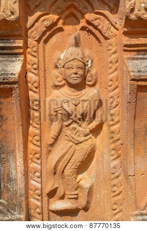 the ancient stone carving for dancing deva