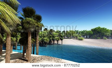 Lush oasis landscape on desert, with date palms and a blue river