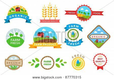 Organic healthy food stickers vector