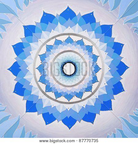 abstract blue mandala of Vishuddha chakra