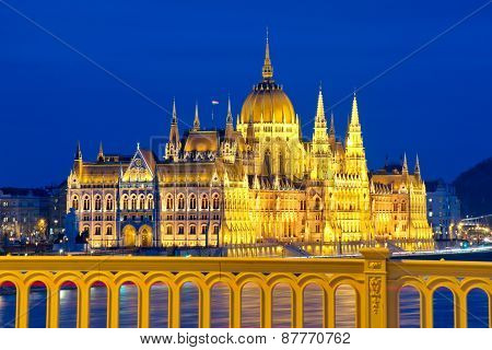 Parliament Of Hungary In Budapest At Night
