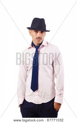 Young man wearing hat isolated on white