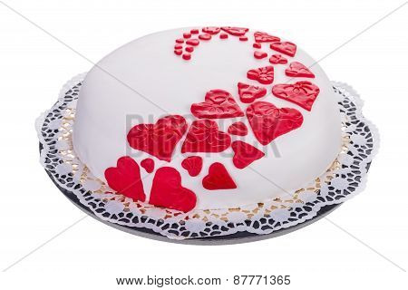 Gorgeous Cake For His Beloved. With Red Hearts.