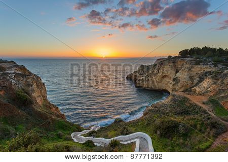 Beautiful Sunset In The Beach In Carvoeiro At Sunset. Valle Currais.