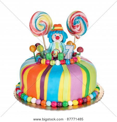 Gorgeous Birthday Cake For Children. Colorful Candy.