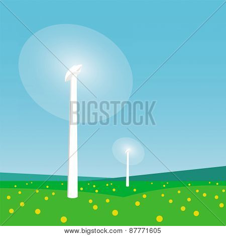 Rotating Wind Turbines And Blue Sky