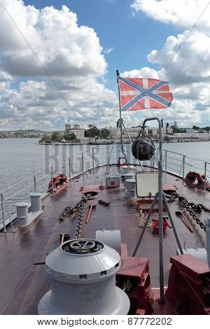 SEVASTOPOL, CRIMEA, UKRAINE - AUGUST 17, 2012: Jack flag of Russian Navy on the frigate