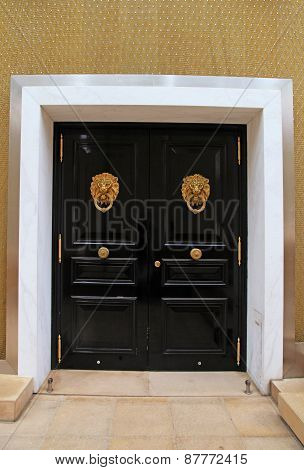 Black Wooden Door With Knob In The Shape Of Brass Lion, Monaco