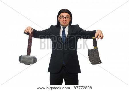 Handsome businessman holding hammer isolated on white