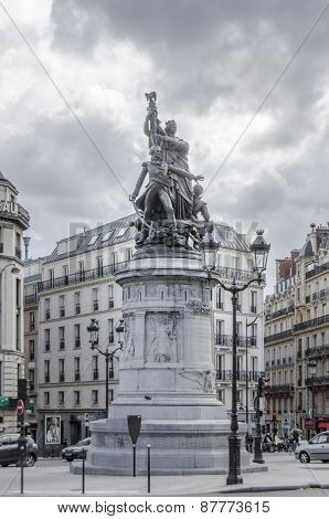 Statue Of Maréchal Moncey In Place De Clichy, Paris, France