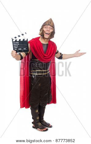 Gladiator with clapboard isolated on white