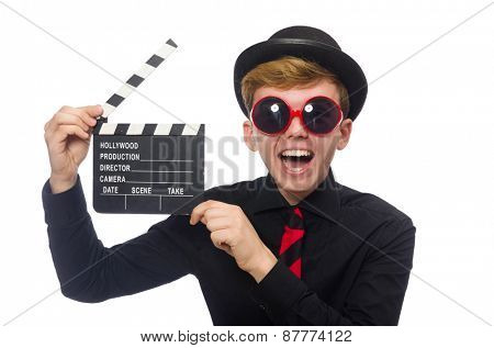 Positive boy with clapper board isolated on white