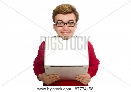 Student using laptop isolated on white