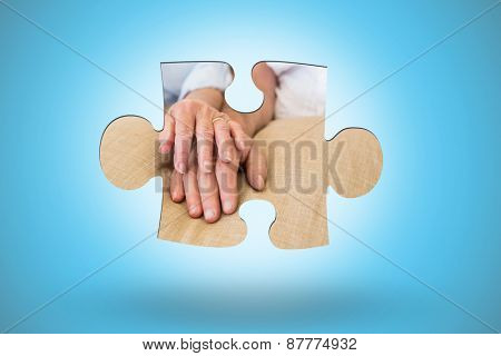 Jigsaw piece against blue background with vignette