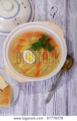 Chicken Soup With Noodles And Egg