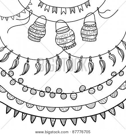 Hand Drawn Vector Garlands, lanterns and Bunting Flags