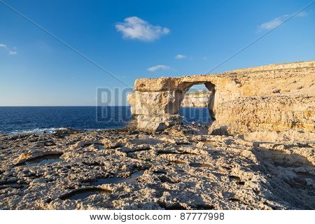 Azure Window, limestone natural arch on Island of Gozo, Malta.
