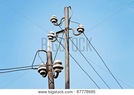 Electrical Wire On Pole.