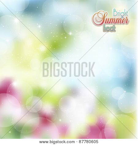 Abstract Floral Background With Glare And Rays