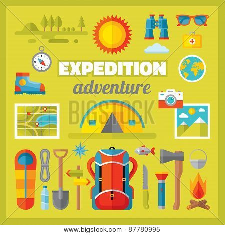 Expedition adventure - vector icons set in flat style design.
