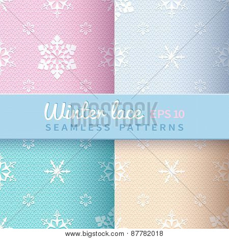 Collection of light vintage winter seamless