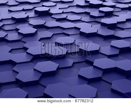 background of 3d blue hexagon blocks
