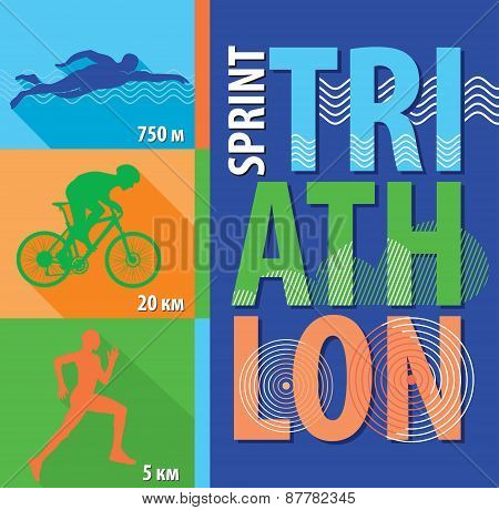 Vector illustration triathlon, flat design. Poster sprint triathlon