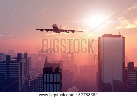 The plane on a background a city