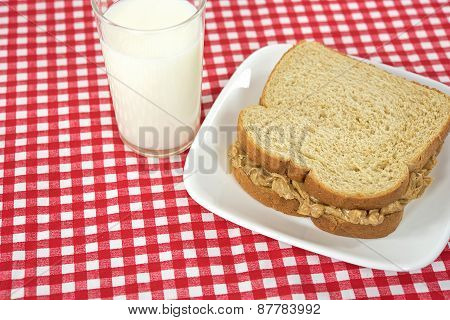 peanut butter sandwich with milk