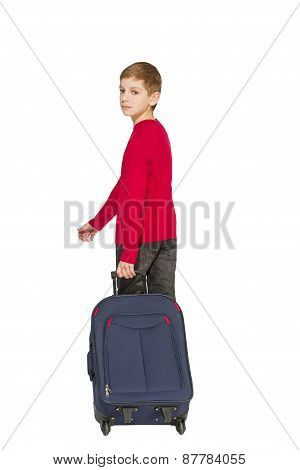 Boy Holding Travel Bag Walking Away Isolated On White
