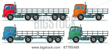 Long truck with cargo goes to the warehouse, vector illustration