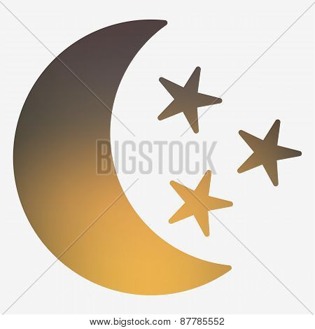 Weather flat style icon with moon and stars.
