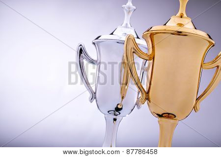 Gold And Silver Trophies Waiting To Be Awarded