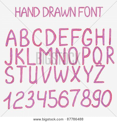 Vector illustration. Hand drawn alphabet with numbers.