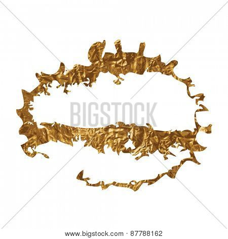 Golden inky grunge splash Vector illustration