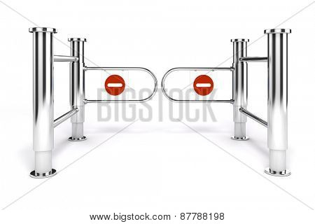 3d msll turnstile with no exit sign on white background