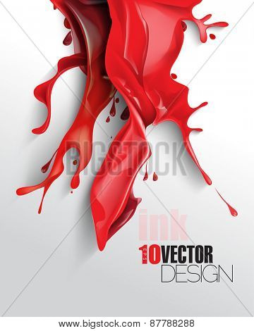 red splash of wet ink paint with shadow eps10 vector background