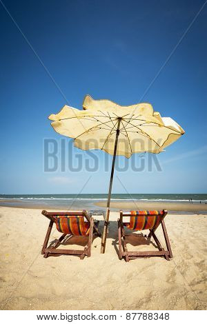 A couple beach chair