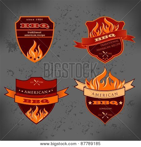 Illustration set of BBQ labels Badge